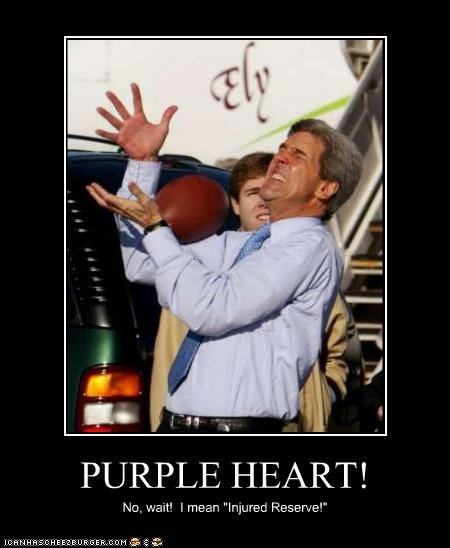 catch,FAIL,flip flop,football,John Kerry,purple heart
