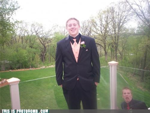 formal outside photobomb prom tuxedo