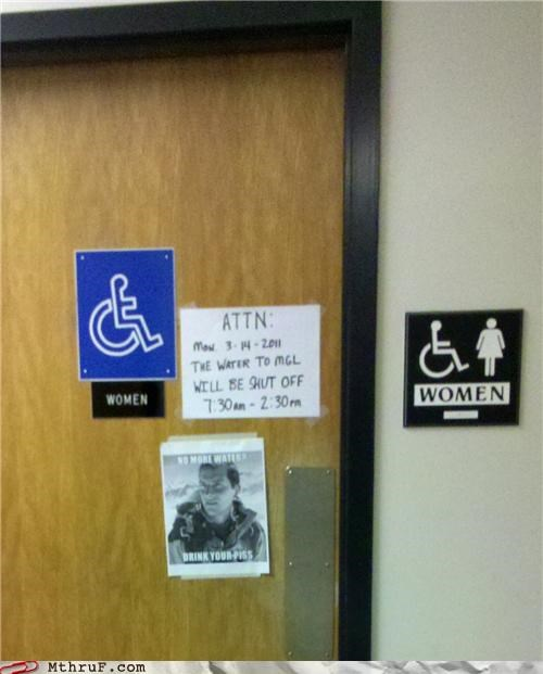 bathroom,bear grylls,handicap,piss,water,women