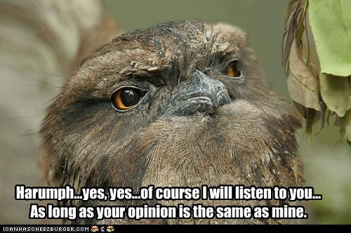 Harumph...yes, yes...of course I will listen to you... As long as your opinion is the same as mine.