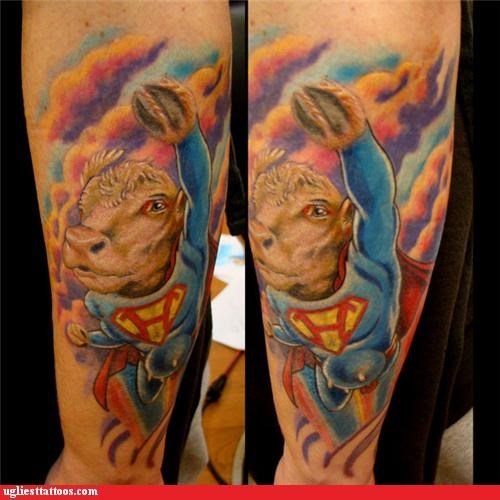 superheros milk tattoos funny cows