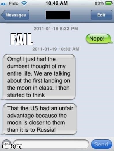 facepalm failboat geography g rated knowledge mobile moon really space texting - 4545523968