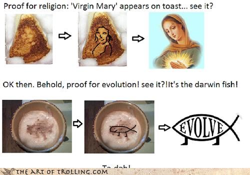 evolution god IRL jesus proof stain toast virgin mary - 4545656320
