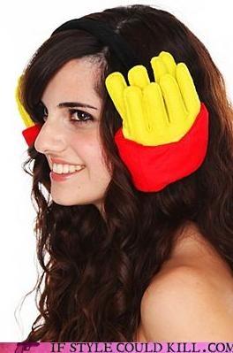 cheeseburger costume cheezburger cool accessories ear muffs earmuffs fries hot topic - 4545739264