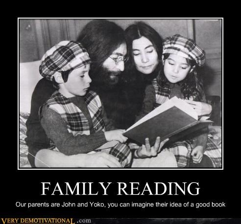 family reading,john lennon,wtf,yoko ono