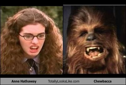 actresses,anne hathaway,chewbacca,hair,star wars,The Princess Diaries