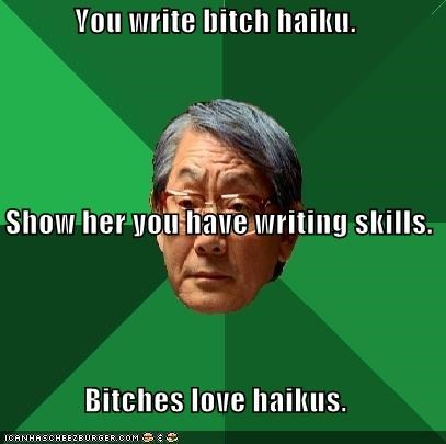 You write bitch haiku. Show her you have writing skills. Bitches love haikus.