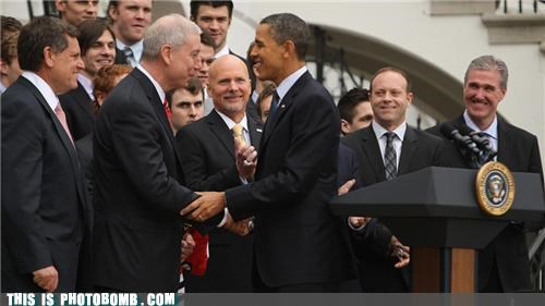 barack obama,celeb,Dave Bolland,photobomb,president