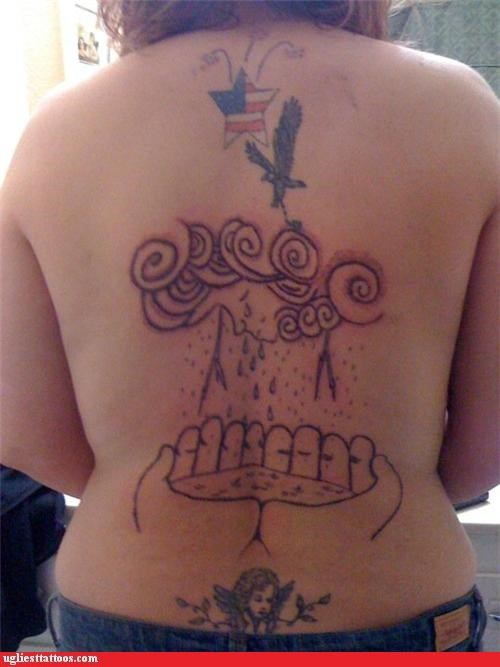 angels,animals,back pieces,patriotism,poor execution,tramp stamps