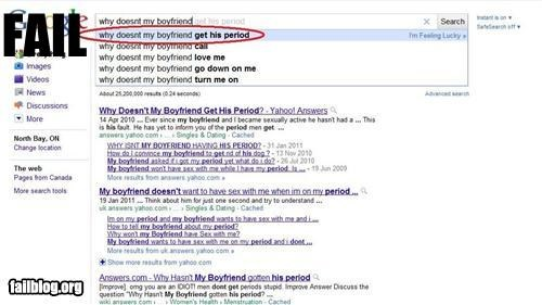 Autocomplete Me,failboat,gender bender,google,g rated,gross,lady business,periods,search