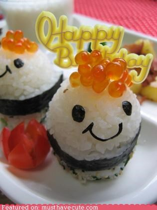 birthday,epicute,fish eggs,rice,roe,seaweed,sushi
