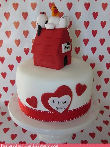 cake,dog house,epicute,fondant,hearts,i love you,love,snoopy