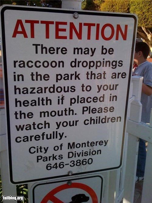 droppings eat failboat health oddly specific park poop racoons sign weird wtf - 4548012800