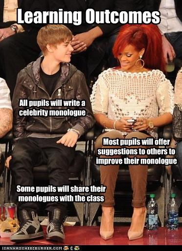 Learning Outcomes All pupils will write a celebrity monologue Some pupils will share their monologues with the class Most pupils will offer suggestions to others to improve their monologue