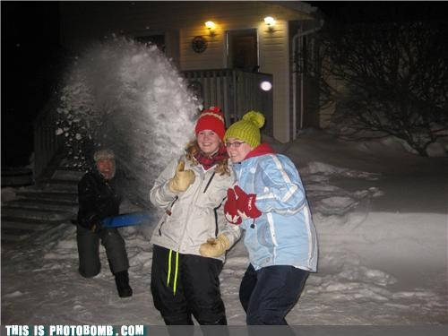 ouch,photobomb,snow,snowballs,thumbs up