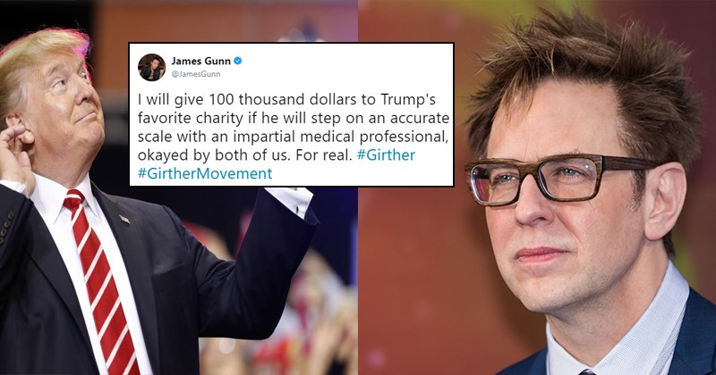 Funny investigation james gunn, #girthermovement, girther movement, to find out donald trump's true weight.