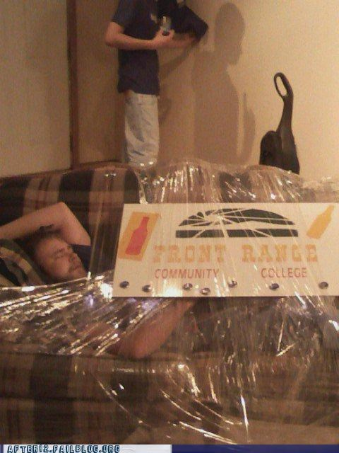 couch,drunk,passed out,saran wrap,tape