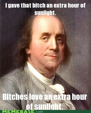 Benjamin Franklin daylight savings time extra hour of sunlight more time to work - 4553204992