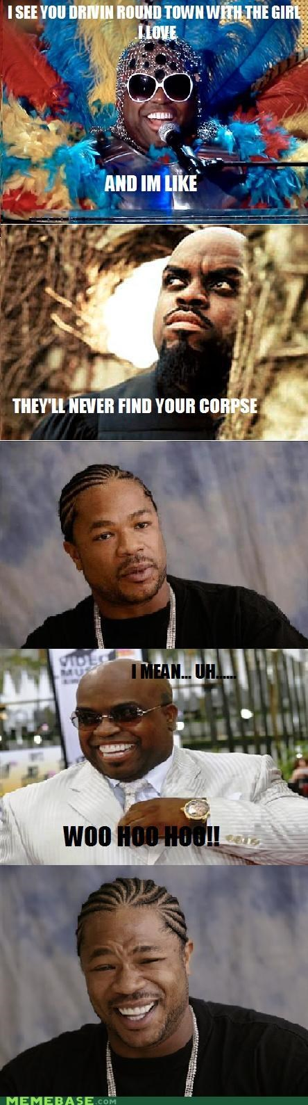 Psycho Cee Lo and Weirded out Xzibit
