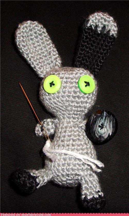 Amigurumi bunny button buttons Crocheted grey needle - 4553698816