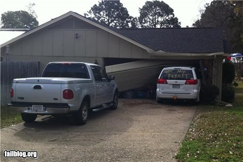 crashed driving failboat garage g rated irony parking permit vans - 4553937408