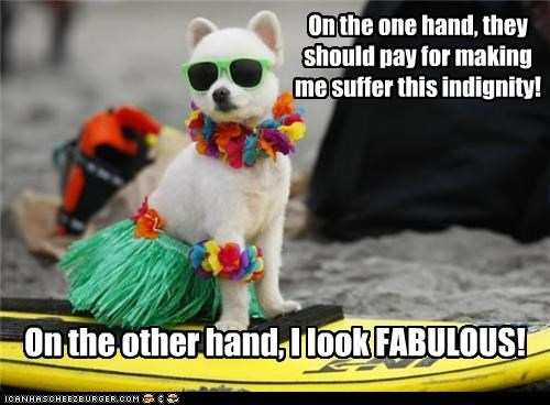 fabulous hand indignity lei one one hand other other hand pay revenge suffer suffering sunglasses surfboard upset whatbreed