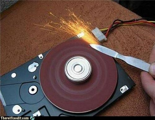 computer repair FAIL hard drive sharpening wtf - 4553940480