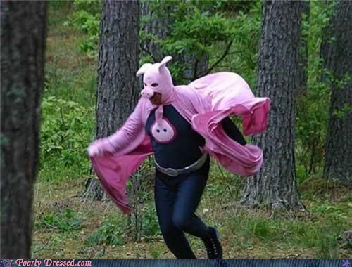 costume,outdoors,pig,super hero,woods,wtf