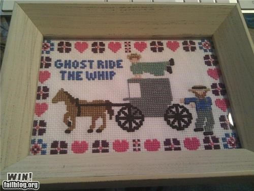 amish,art,arts and crafts,ghost ride the whip,sewing,wtf