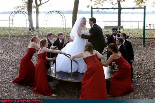carousel,funny wedding photos,playground,wedding party