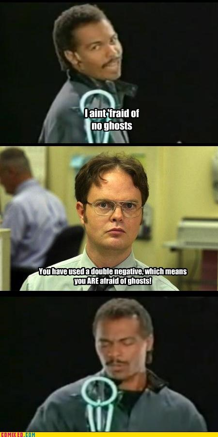 dwight schrute,ghost busters,glasses,grammar,ray-parker-jr