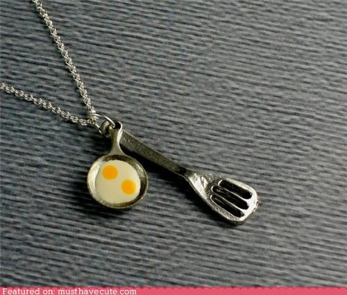 chain eggs Jewelry necklace pan pendant spatula - 4554453760