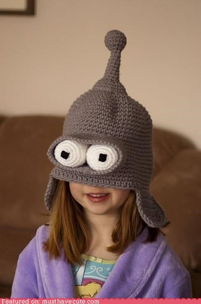 bender crochet eyes futurama hat robot - 4554520576