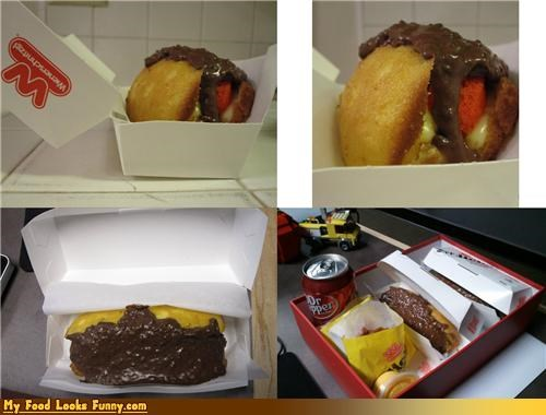 cake chocolate custard dessert hot dog sausage twinkie - 4555064064