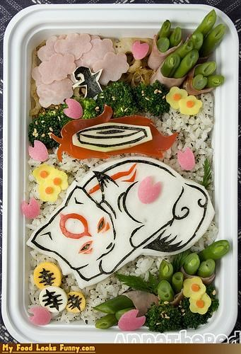 ameterasy,bento,flowers,fox,lunch,okamiden,seaweet,sleep,video game