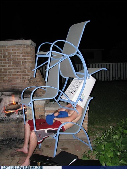 chair,drunk,outdoors,passed out,stacking