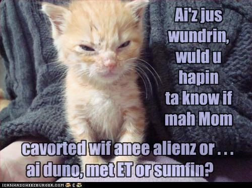 cavorted wif anee alienz or . . . ai duno, met ET or sumfin? Ai'z jus wundrin, wuld u hapin ta know if mah Mom