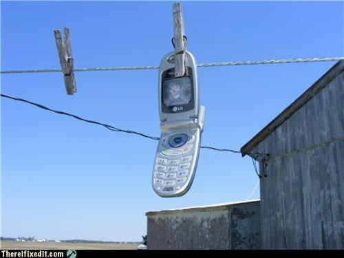 cell phones clothes pin drying technology