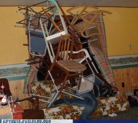 A pile of chairs on one drunk mofo