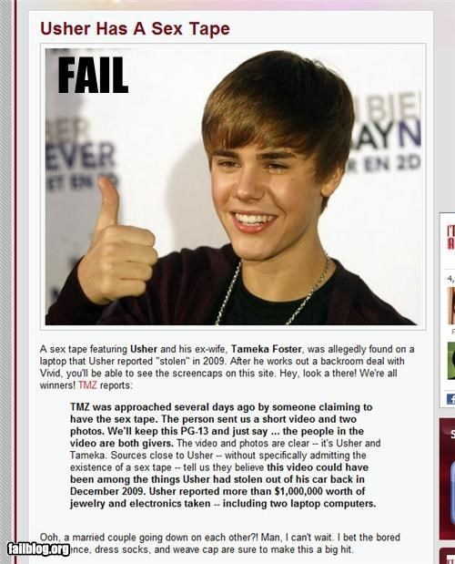 failboat justin bieber online article picture sex tape usher