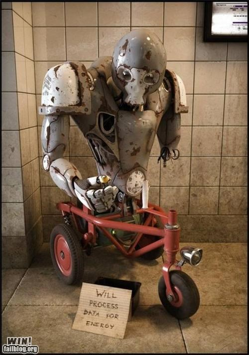 art,clever,homeless sign,robot
