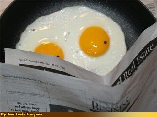 breakfast eggs eyes newspaper read