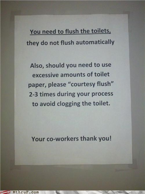 bathroom,clog,flush,note,passive aggressive,sign,toilet