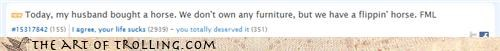 fml,furniture,i own a horse,website