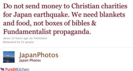 christians flood Japan propaganda Tsunami tweet twitter - 4557839616