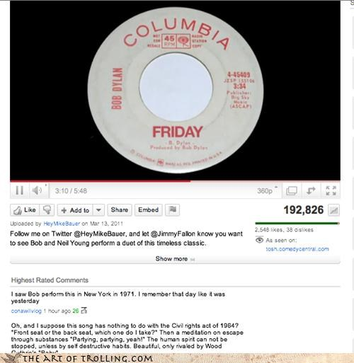 bob dylan,civil rights,cover,FRIDAY,Rebecca Black,the times they are a-changing,youtube