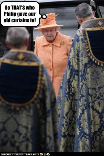 British curtains fashion queen Queen Elizabeth II religion royalty