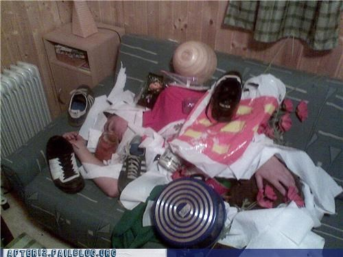 drunk,garbage,passed out,pot,shoes,stacking,trash