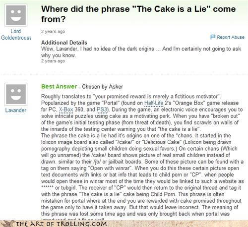 4chan,code,cp,Portal,the cake is a lie,Yahoo Answer Fails