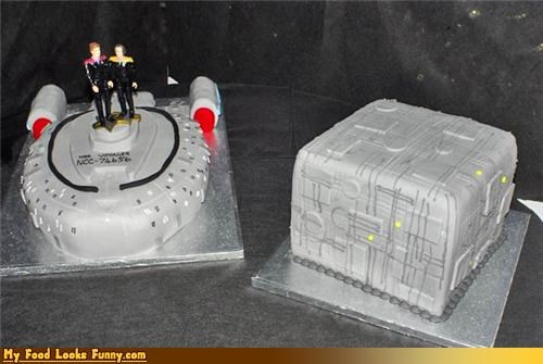 assimilate,borg,cake,cube,fondant,grey,ship,Star Trek